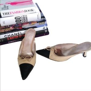 CHANEL Heels Leather Mules CC Logo Pointed Toe 38